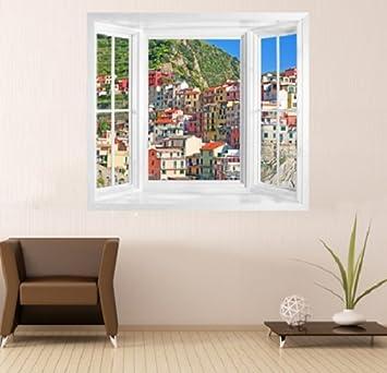 Fototapete fensterrahmen  wim193 - Fenster Blick auf Italien Cinque Terre Riomaggiore Dorf ...