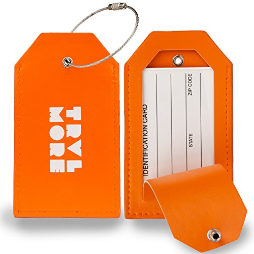 2 Pack TravelMore PU Leather Luggage Tags For Suitcases w/Privacy Cover - Travel ID Identifier Labels Set For Bags & Baggage - Men & Woman - (Luggage Flight Bag)