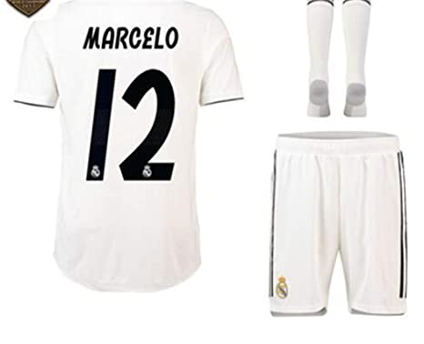 check out 6d0e9 c6abf LISIMKE Soccer Team 2018/19 Real Madrid Home Marcelo Vieira 12 Mens  Replica&Shorts Kid Youth Replica Jersey Kit