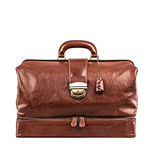Maxwell Scott Full Grain Leather Large Doctor's Bag – DonniniL Tan