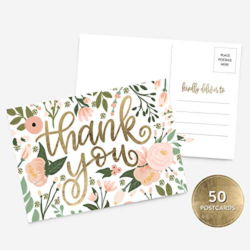 50 4x6 Thank You Postcards Floral Faux Gold Handlettered Bulk Set, Floral Watercolor Calligraphy Note Card Stationery, Blank Thank You Cards for Wedding, Bridesmaid, Bridal or Baby Shower, Business ()