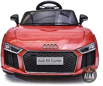 ATAA CARS Audi R8 Spyder Licenciado 12v Asiento Piel, Ruedas de Goma - Coche eléctrico para niños - Rojo