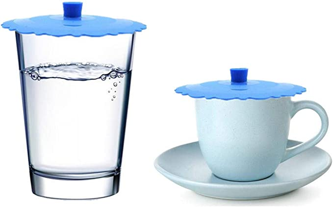 Anti-dust Cup Cover with Spoon Silicone Cover Lids Seat Novelty Coffee Tea Seal