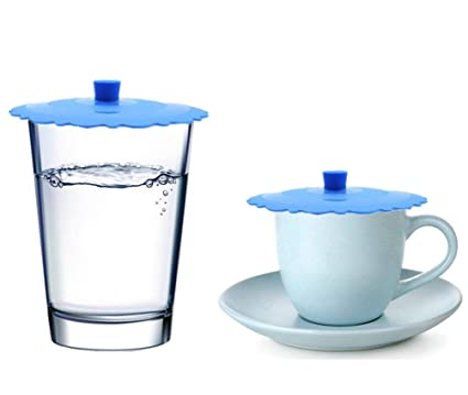 d50a3749943 Amazon.com: JSS Set of 2 Round Silicone Mug Coffee Cup Cap, Seal Air Tight  Drink Cup Lid, Tea Glass Cup Cover, Spill Proof Suction Lid Tumblers  (BlueA): ...
