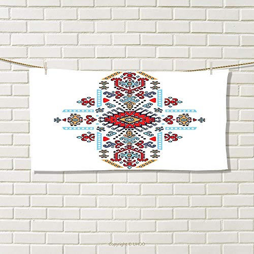 smallbeefly Geometric Sports Towel Mexican and African Ethnic Tribal Ornamental Folkloric Unique Vintage Pattern Absorbent Towel Multicolor Size: W 12'' x L 35.10'' by smallbeefly