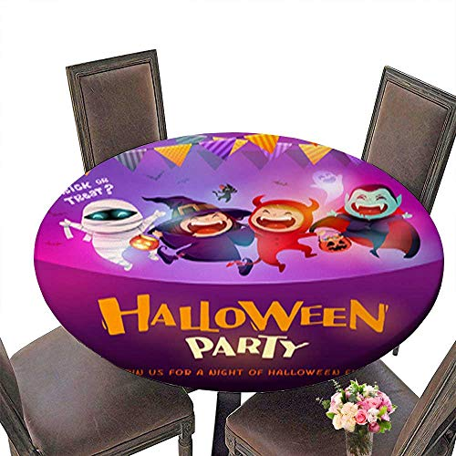 Decorative Round Tablecloth,Halloween Celebration Fun Party Group of Kids in Halloween Costume Assorted Size up to 43.5
