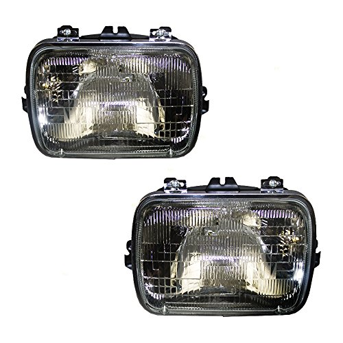 Halogen Sealed Beam Headlight Headlamp Rectangular Lens Capsule Assembly Pair Set Replacements for Chevrolet Buick Cadillac GM Pickup Truck Van SUV 25949657