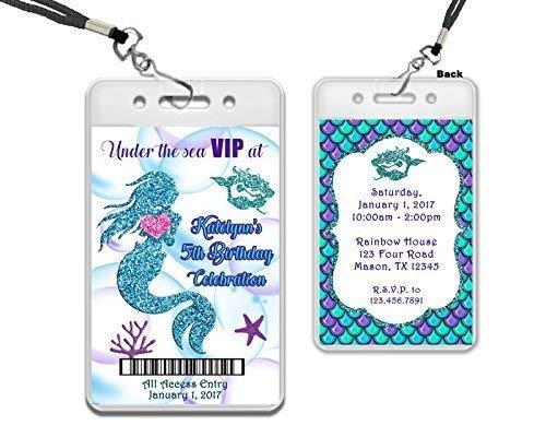 amazon com blue glitter mermaid vip pass invitations girl birthday