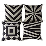 Mypillow Green Level Best Deals - Monkeysell .4 Pcs Black and Beige Stripe Vintage Style Cotton Linen Sofa Home Decor Design Throw Pillow Case Cushion Covers Square 18 Inch (4 Pcs Black and Beige-2)
