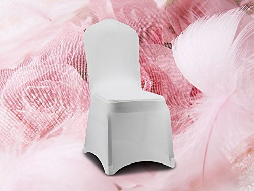 SPRINGROSE 100 White Scuba Spandex Stretch Banquet Wedding Chair Covers