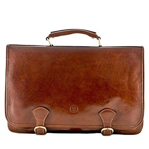 Maxwell Scott Luxury Brown Leather Satchel (The Jesolo3) - One Size