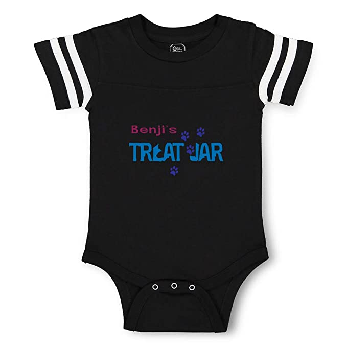 16d1099a5 Personalized Custom Dog s Treat Jar Pets Paws Cotton Contrasting Stripes  Crewneck Boys-Girls Baby Football