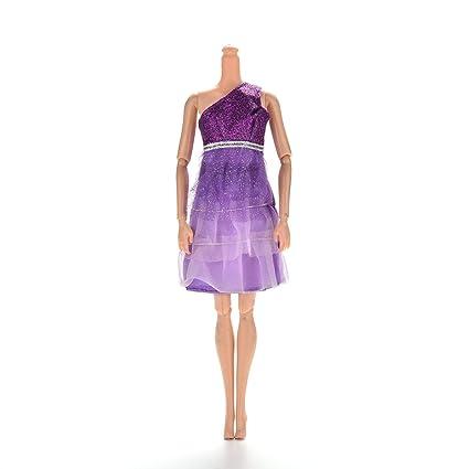 Amazon.es: VESTIDO DE UN HOMBRO Falda de lentejuelas de encaje ...