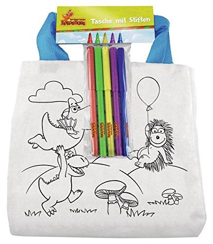 Der kleine Drache Kokosnuss - Stofftasche zum Ausmalen: Set mit 5 Textilstiften