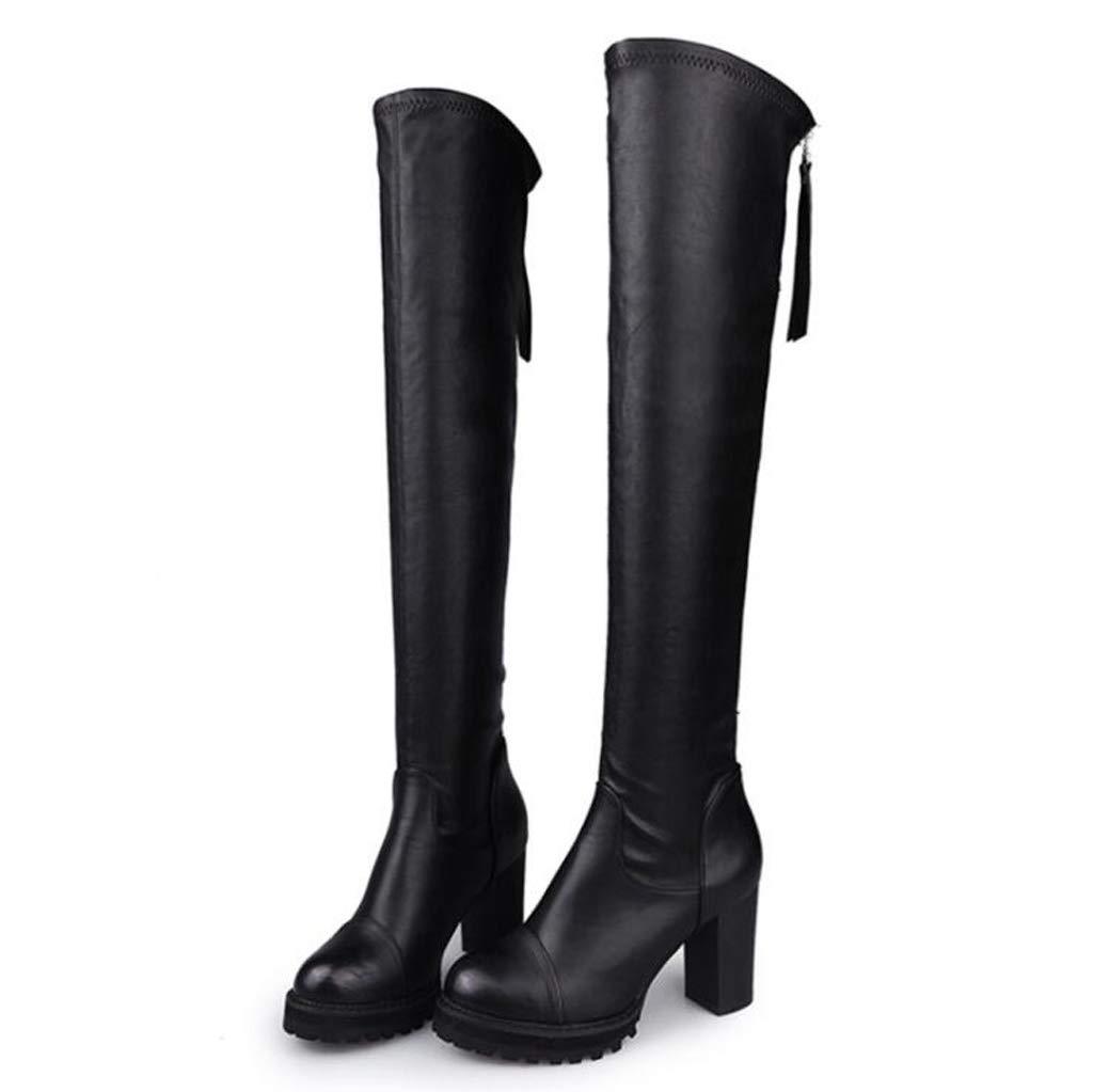 XHCP Over The Knee Stiefel Herbst Und Winter Stiefel Wasserdicht Plattform Martin Stiefel Dick Mit Hohen Stiefeln,39