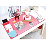 STAR-TOP Large Size Mouse pad,Anti-Slip Desk Mouse Mat Waterproof Desk Protector Mat with Smartphone Stand, Pockets, Dividing Rule, Calendar and Pen Groove(red)