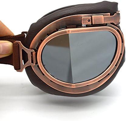 Summshine Klassisch Braun Motorradbrille Schutzbrille Raf Aviator Pilot Biker Cruiser Pilot Fliegerbrille Motocross Cruisers Half Face Helmbrillen Helm Brille Auto