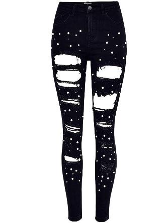 Pantalones De Lápiz para Agujero La Mujer De Perla Modernas ...