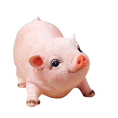 Home Decor Ornament Figurine Pig Statue Yard Garden Decorations Resin Simulation Pig Sculpture Outdoor Patio Yard Decorations: Home & Kitchen