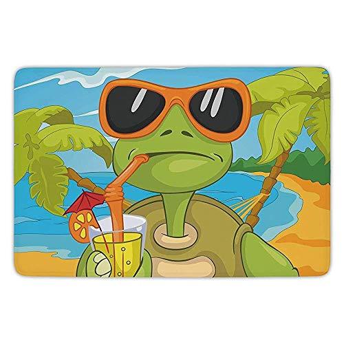 Bathroom Bath Rug Kitchen Floor Mat Carpet,Turtle,Cool Sea Turtle with Sunglasses Drinking Cocktail at The Beach Cartoon,Green Orange Light Blue,Flannel Microfiber Non-Slip Soft Absorbent