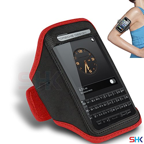 BLACKBERRY Porsche Design P'9983 RED Adjustable Armband Sport Gym Bike Cycle Running Jogging Sports Case Cover Holder Pouch (BB) BY SHUKAN®