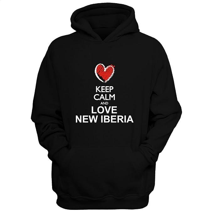 Idakoos Keep calm and love New Iberia chalk style - Ciudades Usa - Sudadera con capucha: Amazon.es: Ropa y accesorios
