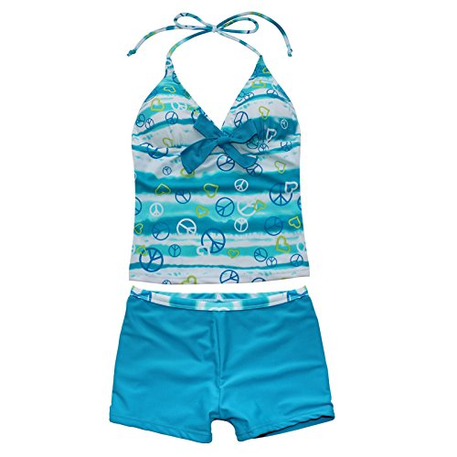 iEFiEL Big Girls Youth Peace Signs Heart Print 2 Piece Tankini Swimwear Swimsuit Sea Blue Size 10