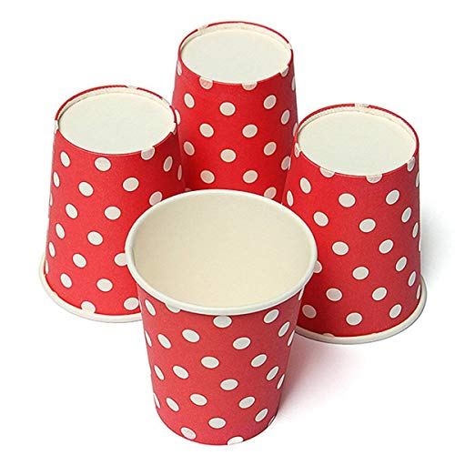 Decorative Red - Tfbc 50pcs Polka Dot Paper Cups Case Disposable Tableware Wedding Birthday Decorations Red - Hearts Paper White Spiderman Troll Incredible Horses Rainbow Swirls Decorative B