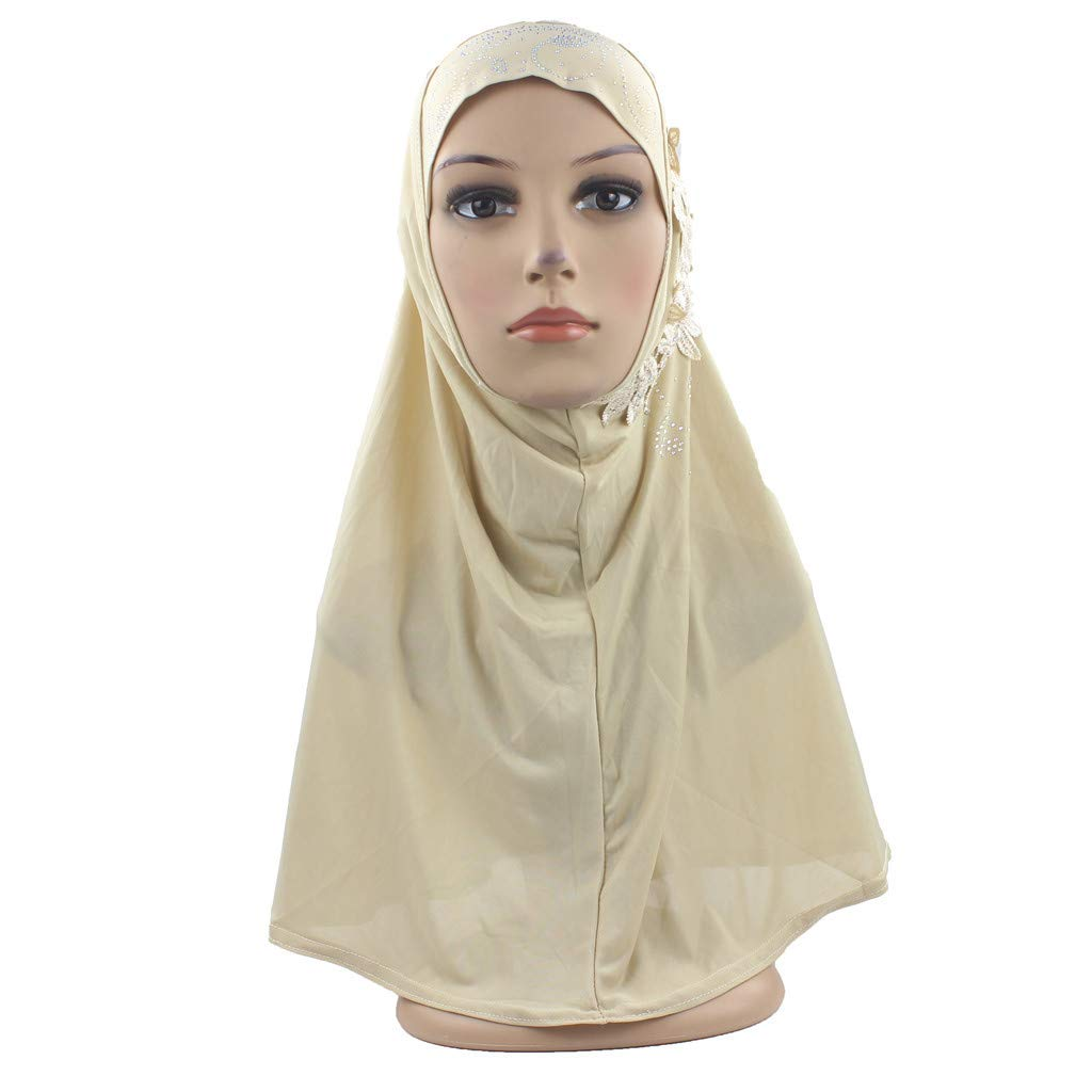 Muslim Hijabs Sewing Embroidery Flower Pattern Diamond on Scarf for Women