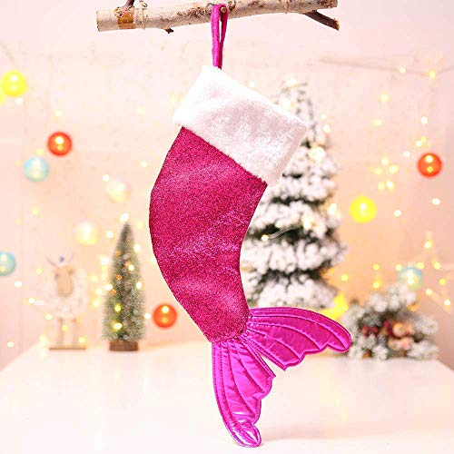 18 inch Christmas Stockings Sequins Mermaid Fishtail Santa Claus Candy Gift Bags Xmas Tree Pendant Christmas Decoration Supplies (Pink) -