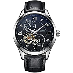 VEADONS Men's Luxury Skeleton Hollow Luminous Automatic Self-wind Business Leather Strap Wrist Watch