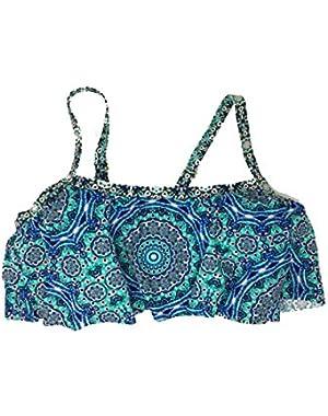 Jessica Simpson Plus Size Cropped Flounce Swim Tank Moss Multi 0X