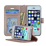 Navor Protective Flip Wallet Case for iPhone 5 / 5S / SE - Rose Gold (IP5ORG)
