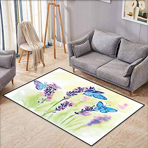 Large Area mat,Lavender Summer Field Natural Wildlife Themed Watercolor Artwork with Butterflies,Extra Large Rug,3'3