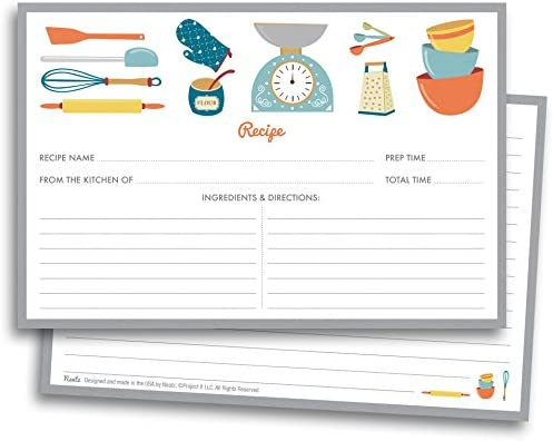 Chef\u0027s Recipe Cards , 50 Double Sided Cards, 4x6 inches. Thick Card Stock