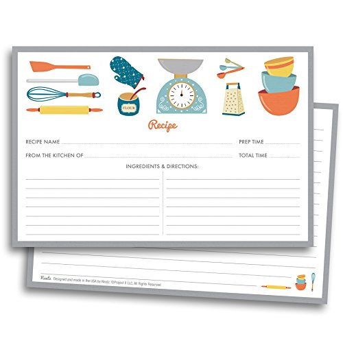 Chef's Recipe Cards - 50 Double Sided Cards, 4x6 inches. Thick Card Stock ()