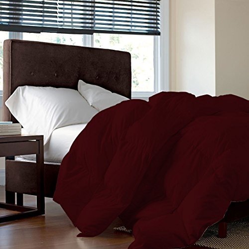 600 TC, GOTS Certified, Organic Cotton, Luxurious and Warm Comforter/Quilt (300 GSM), Fluffy and Cozy Microfiber Filling Duvet Twin/Twin XL, Burgundy by AMERICANO EMPORIUM