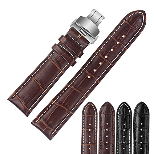 ViuiDueTure (18mm-24mm) Brown White line Luxury Business Classic Calfskin Leather Strap Replacement Watch Band Silver Deployment Buckle (20mm)