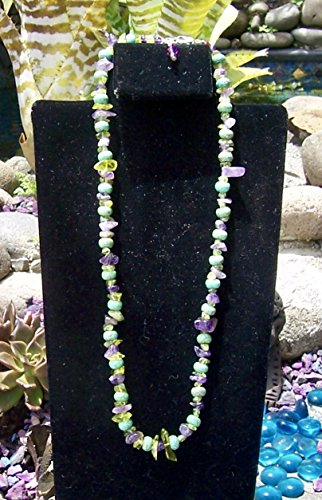 Green and Purple single strand Short Length - Single Strand Necklace Turquoise