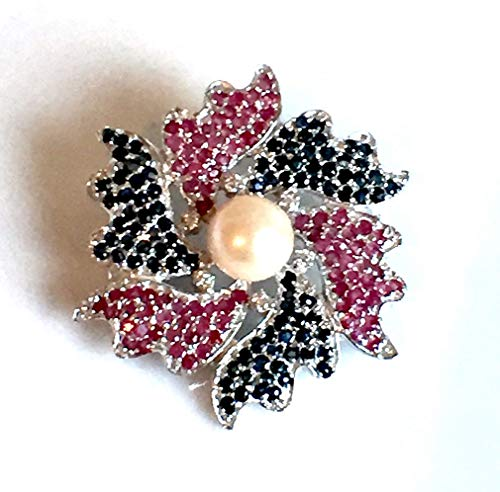 - Magnificent 14k White Gold Vermeil 925 Sterling Silver, Fresh Water PEARL, Genuine African RUBY and SAPPHIRE & Cubic Zirconia Flower Brooch Fine Jewelry.