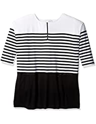 Joan Vass Womens Plus Size Striped Cotton Dress with Zippers