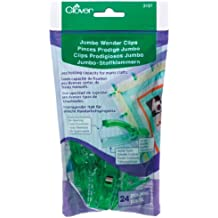 Clover 3157 24-Piece Jumbo Wonder Clips with Seam Allowance Markings, 2-1/4-Inch, Green