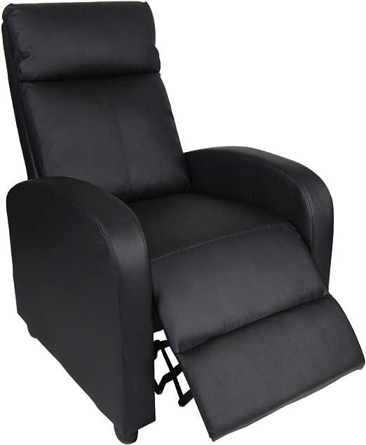 Polar Aurora Single Manual Recliner Chair Padded Seat PU Leather Living Room Sofa Modern Recliner Seat Home Theater Seating for Living Room (Black