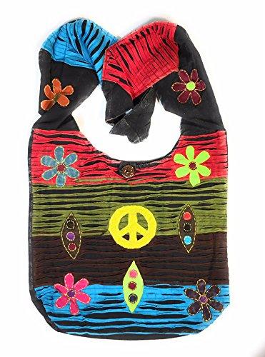 Razor with Peace Sign Sling Cut Handbag Crossbody Shoulder Bohemian dOxfqSnY0d