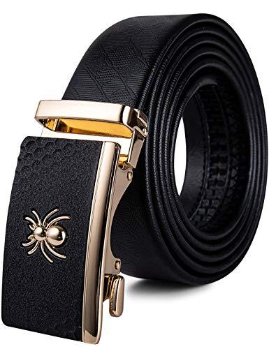 Mens Spider Buckle Belt,Genuine Leather Belt Ratchet Automatic Buckle Alloy Designer Belt Adjustable(43.3'',110cm) (Designer Belt Buckle)