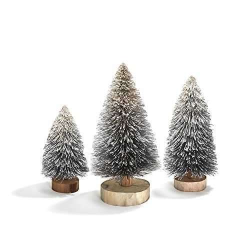 Bottle Brush Christmas Trees, Silver Sisal Table Top Decoration - Set of 3