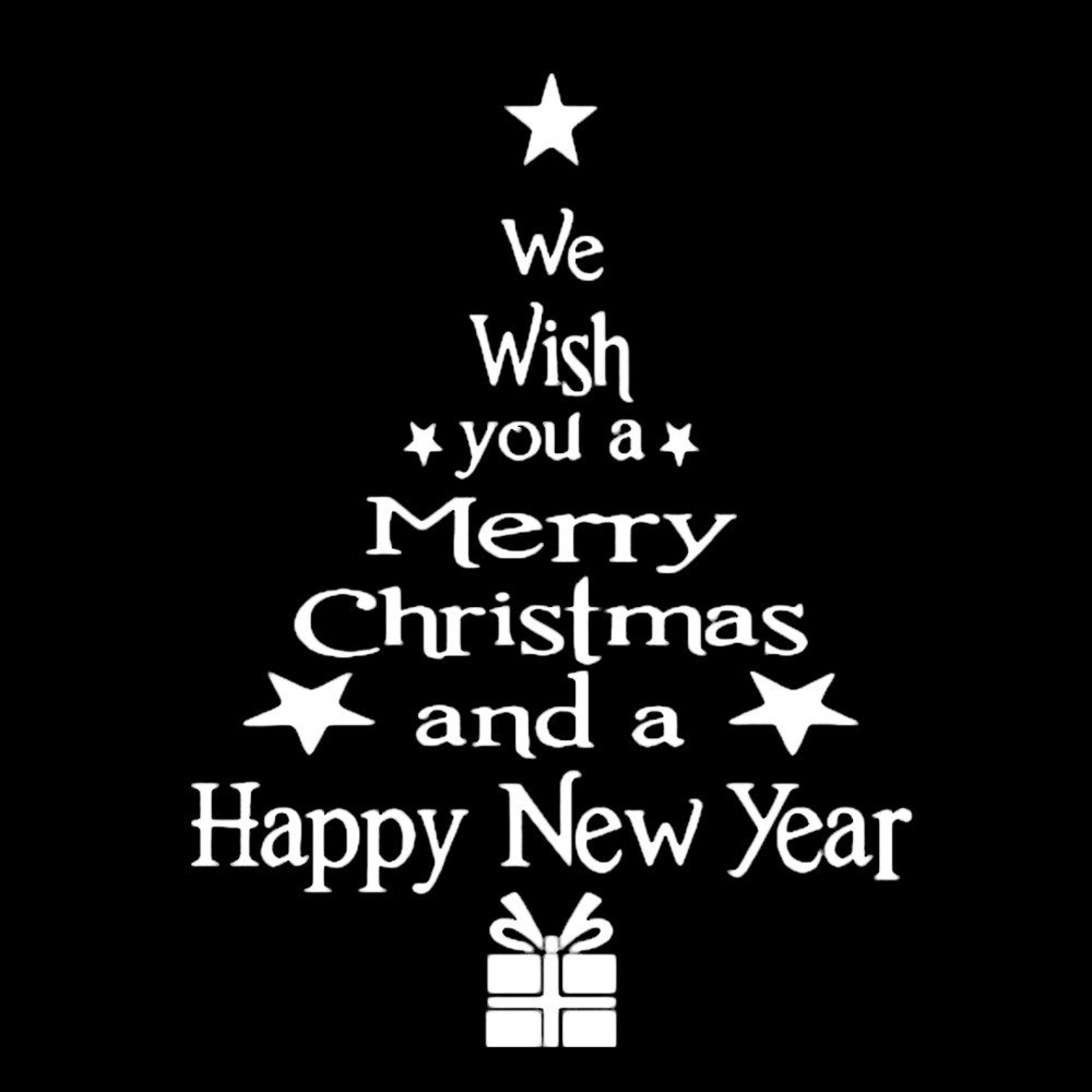 Christmas Tree Letters Wall Stickers Merry Xmas Happy New Years PVC Clings Decor Wall Stick Mural Decal (White, 43cm×24cm)