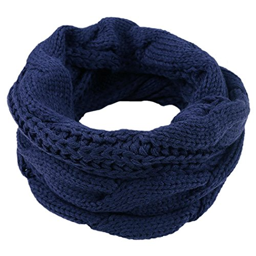 Veenajo Unisex Sweater Scarves Thick Ribbed Knit Winter Warm Soft Infinity Circle Loop Scarf(Blue)