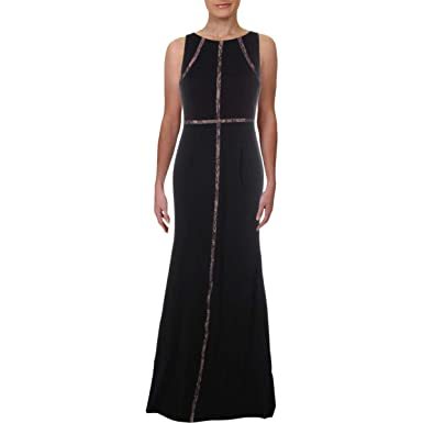 276951de3c608 Adrianna Papell Womens Sleeveless Jersey Halter Gown with Nude Lace  Illusion Detail at Amazon Women s Clothing store