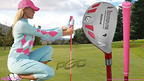 Women's iDrive Golf Clubs All Ladies Pink Hybrid Complete Full Set which Includes: #4, 5, 6, 7, 8, 9, PW +SW Lady Flex Right Handed New Rescue Utility ''L'' Flex Club